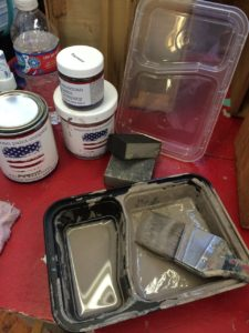 I love these food containers with double compartments for painting. One holds water, the other paint! The lid keeps the paint fresh for the next time too!